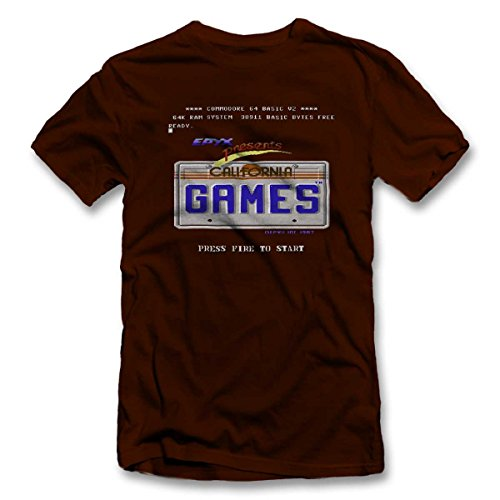 California Games T-Shirt S-XXL 12 Colori / Colours Marrone