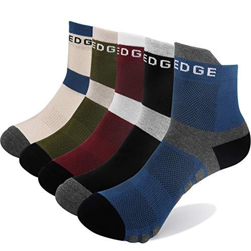 YUEDGE 5 Paar Atmungsaktive Running Socken Sneakersocken Quarters Sportsocken für Herren und Damen (XL) -