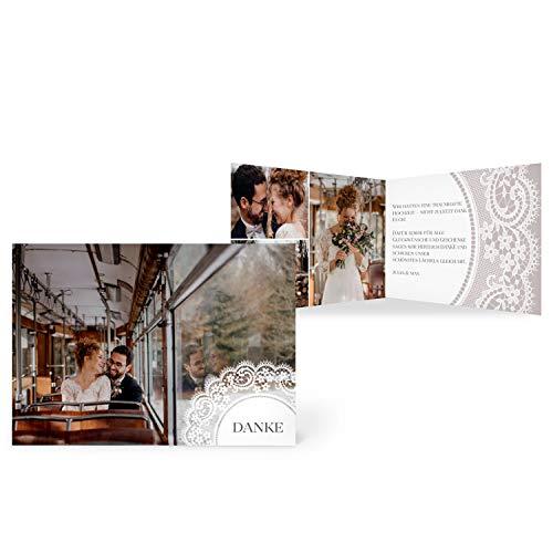 greetinks 30 x Dankeskarten zur Hochzeit 'Boho Spitze' in Grau | Personalisierte Danksagungskarten zum selbst Gestalten | 30 Stück Danksagung Karten