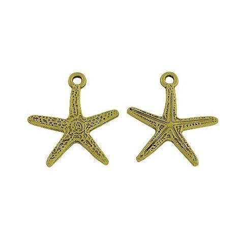 15 x Steampunk Antique Bronze Tibetan 20mm Charms Pendants (Starfish) - (ZX14885) - Charming Beads
