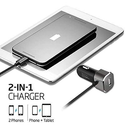 Spigen-Essential-F25QC-USB-Typ-C-27W-kfz-ladegert-24A-USB-A-Port-3A-Built-In-USB-Typ-C-Kabel-1m33ft-Zigarettenanznder-USB-Ladegert-fr-SmartphonesTablets-und-mehr