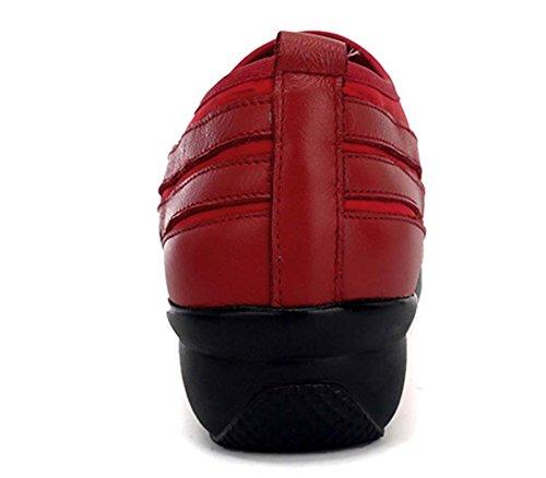 Camminare Pattren Tennis Pattren Fitness Da Da Scarpe Pattini Casual Da Da Moderne Bottom Scarpe Slip Jazz Scarpe Calzature Sport Pochette Red Bocca Soft On Ballo Leather RqSvzwnvIE