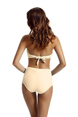 Zeraca Damen Hohe Taille Push Up Twist Bandeau Bikini Set Badeanzüge Peach Pearl