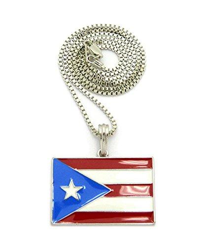 Puerto Ricanische Flaggen-Anhänger mit 2mm 61cm Boxer-Halskette, Silber-Ton (Puerto Rico-boxer)