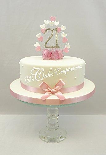 Kuchen Dekoration Kuchen Topper Herz Burst Spray mit 21. Geburtstag Baby Pink