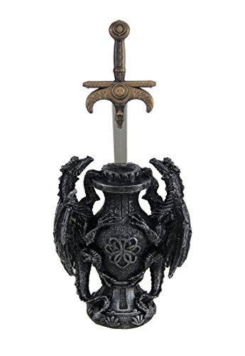 Kunstharz Buchstabe Openers Siegelring von Dragos Mittelalter Drachen und Schwert Desktop Brieföffner 10,8x 22,9x 6,3cm Gunmetal