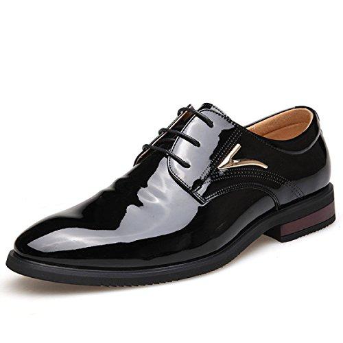 GRRONG Chaussures En Cuir Véritable Pour Homme Tenue D'affaires En Cuir Noir Loisirs Black