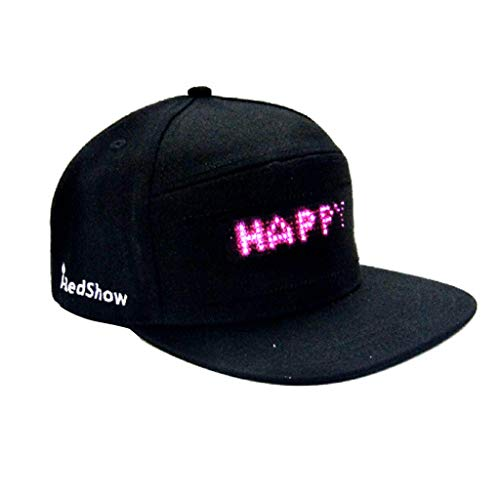 HCFKJ Mode Cap LED Cool Hat mit Bildschirm Licht wasserdichtes Smartphone gesteuert (BK) (Baby Gangster Kostüm)