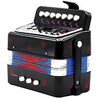 Ainybaby - Acordeón de juguete para niños, 7 llaves, 2 bajos, mini acordeón, instrumento musical, botón de regalo