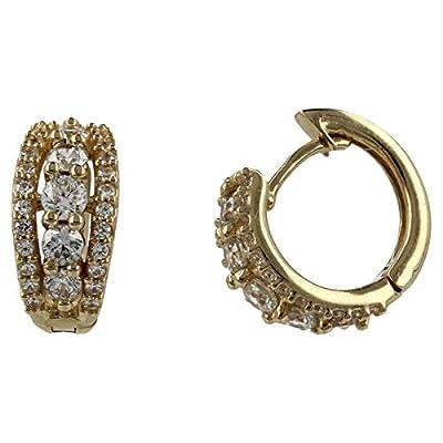 Boucles d'oreilles en or jaune 14 carats avec zircons blancs - Gioiello Italiano