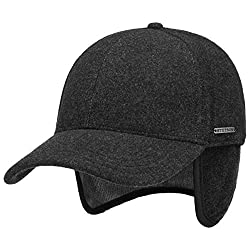Stetson Vaby Earflap Cap für Herren Wollcap Wintercap Hinten geschlossen, mit Schirm, Ohrenklappen,, Anthrazit, L (58-59 cm)