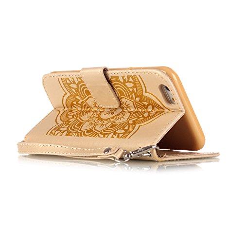 MOONCASE iPhone SE Coque, Motif Dreamcatcher Bookstyle Portefeuille en Cuir Housse de Protection [Béquille] Étui à rabat Case pour Apple iPhone 5 / 5S / iPhone SE Brun Doré