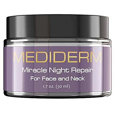 Mediderm Miracle Night Repair Cream - Best Anti Aging Moisturizer And Anti Wrinkle Cream With Hyaluronic Acid, Vitamin C, Marine Collagen. Daily Moisturizing Treatment For Men And