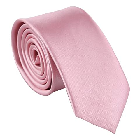 Cravate Rose - Polyester Rose col Tie Skinny solide mince