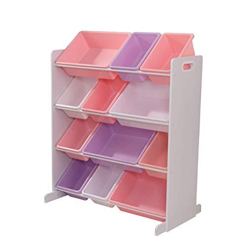 KidKraft 15450 Estantería infantil Sort It and Store It con 12 contenedores para almacenaje, muebles para salas de juego y dormitorio de niños - Pastel y blanco