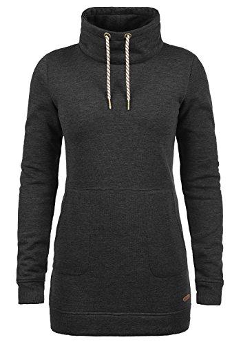 DESIRES Vilma Damen Langes Sweatshirt Pullover Longpullover Mit Stehkragen, Größe:S, Farbe:Dark Grey Melange (8288)