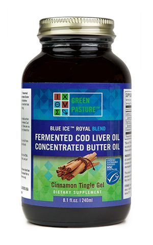 Green Pasture – Blue Ice Royal Butter Oil & Fermented Cod Liver Oil GEL – Cinnamon – 240 ml