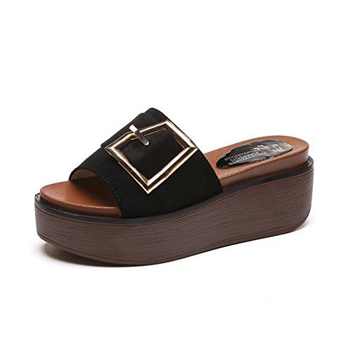 Sandales Et Pantoufles à Semelle épaisse Gâteau, A-ligne Chausson ,Version Coréenne Des Chaussures De Lit Dorigine A