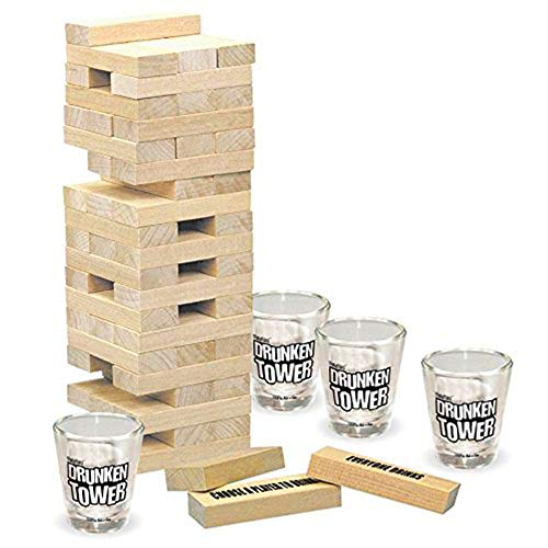 Mmyunx Tipsy Torre Bebiendo Juego Set 4 Vasos de Tiro y 60 Piezas de Madera una Torre de la diversión! El último Juego de Fiesta para Adultos