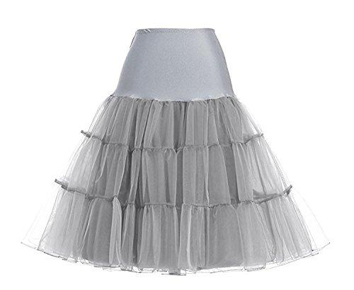 Swallowuk Frauen Vintage Petticoat Unterrock Reifrock tüllrock petticoat Kleid Grau