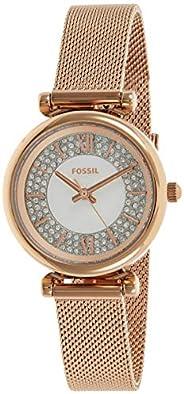 ساعة يد صغيرة تناظرية من الستانلس ستيل بميناء بيضاء للنساء من فوسيل كارلي - ES4836
