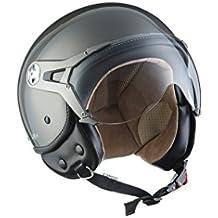 SOXON SP-325-MONO Titan · Urban Urbano Retro Vespa Scooter Biker Cruiser Moto motocicleta Casco Demi-Jet Vintage Piloto Helmet Chopper Mofa Bobber · ECE certificado · visera incluido · incluyendo bolsa de casco · Gris · L (59-60cm)