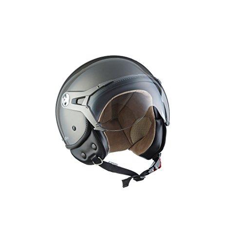 Preisvergleich Produktbild SOXON SP-325-MONO Titan · Jet-Helm Biker Pilot Retro Bobber Chopper Vespa-Helm Scooter-Helm Motorrad-Helm Vintage Cruiser Roller-Helm Helmet Mofa · ECE zertifiziert · mit Visier · inkl. Stofftragetasche · Grau · XL (61-62cm)
