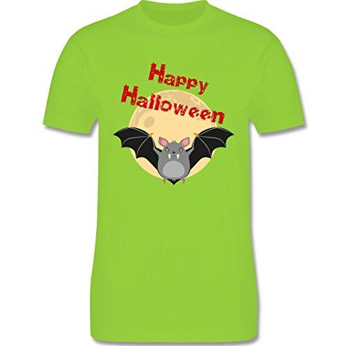Halloween - Happy Halloween Fledermaus - Herren Premium T-Shirt Hellgrün
