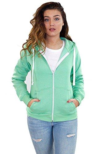 True Face New Women Plain Fleece Zip Up Hoody Jacket Sweatshirt Hooded Zipper Top (UK-10, Mint)