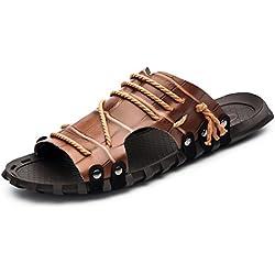 ailishabroy Sandalias de Playa de Cuero Genuino de los Hombres Del Verano Chanclas de La Gimnasia De La Moda (47 EU, marrón)