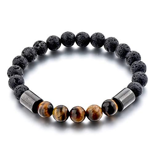 Imagen de pulsera ojo de tigre de piedra volcánica | regalo pulsera de 7 chakras | pulsera de cuentas | auténtico | gran meditación espiritual | perfecta para hombres y mujeres | pulsera unisex alternativa