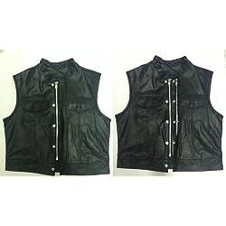 Chaleco-chaqueta para moto de piel Sons Of Anarchy S.O.A. con parche, cremallera y cuello, para motoristas 4XL negro