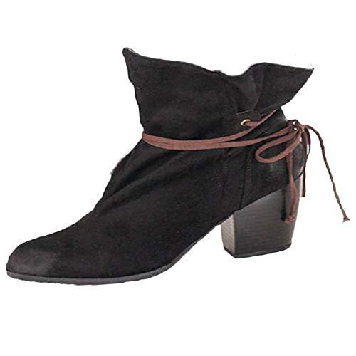 Yvelands Damen Stiefel, Retro Schuhe Lace-up Rutschfeste Dicke Ferse Round Toe Suede Short Boot Stiefel Stiefeletten(36.5,Schwarz)