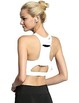 HLGO Cobertura Completa para Mujeres Jogging Gym Ropa de Yoga Activewear Racerback Strappy Sport Bra (S-XL)