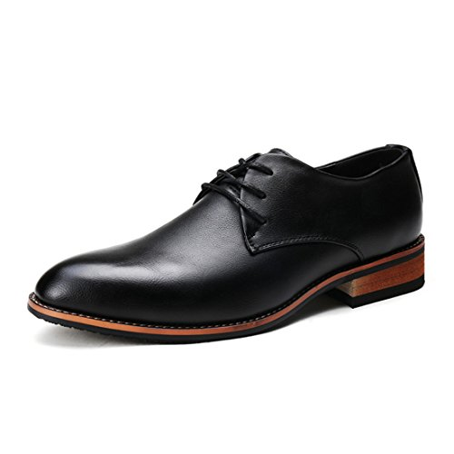 Men's British Style Leather Flat Formal Shoes Black