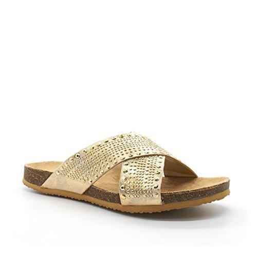 London Schuhe Lara, Damen Kreuz Strap Beach Sandalen/Pantoletten Gold
