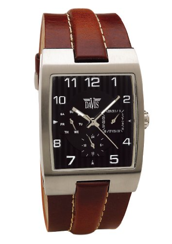 Davis Mens Retro Classic Multifunctions Brown Topsitched leather strap Watch
