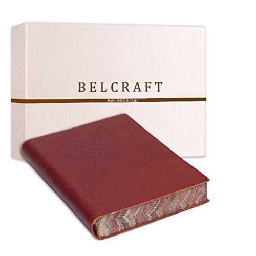 Venezia Classica A5 mittelgroßes Notizbuch aus Leder, Handgearbeitet in klassischem Italienischem Stil, Geschenkschachtel inklusive, Tagebuch, Lederbuch A5 (15x21 cm) Rot