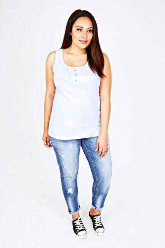 yoursclothing Plus Taille Femme Gilet sans manches pour homme en coton avec volants en mousseline et bouton détail Blanc