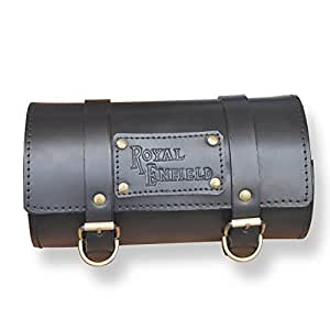 ASCO 95050 Royal Enfield Leather Side Round Tool Bag (Black)