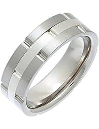Theia Titanium and Silver Inlay Flat Court Matt Brick 7 mm Ring