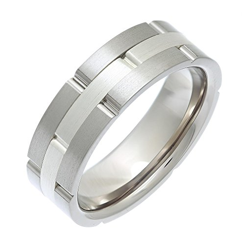 Theia Titanium and Silver Inlay Flat Court Matt Brick 7 mm Ring