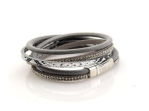 2Wrap 3Strand Leder Armband Schlange Print Magnetverschluss 7'Handgelenk Grau