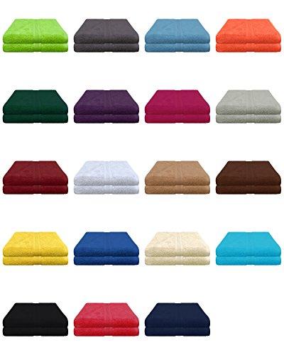 Saunatuch Frottier - Saunatücher 80x200 cm im 2er Pack 100% Baumwolle - Quaität 500g/m² in 19 Farben - 2x Saunatuch, Strandtuch XXL 80x200 cm Sand