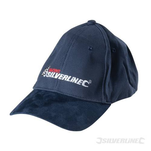 Merchandising Clothing Baseball Cap Baseball Cap Made from 100% heavy duty brush cotton drill with genuine suede upper peak. 'Racing Silverline' branded baseball cap. Seamless centralised front panel with hook and loop adjustable sizing strap. by SILVERL Cotton Suede Cap