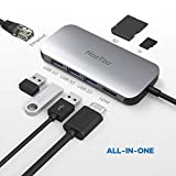 HooToo USB C Hub, 7 in 1 Adattatore Hub USB C Porta 4K HDMI, Porta 1Gbps Ethernet RJ45, Lettore di Schede SD&TFI, Type C per Ricarica, 3 Porte USB 3.0 per MacBook PRO e PC Portatili Windows