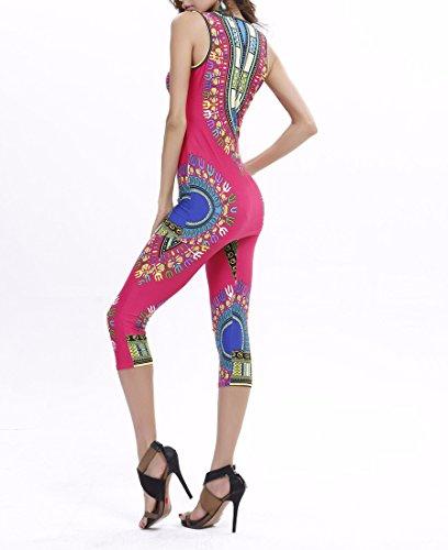 QIYUN.Z Gilets Femmes Africaines Design Imprimes Ete Definit Plus Size Svelte + Gilets Pantalons rose rouge