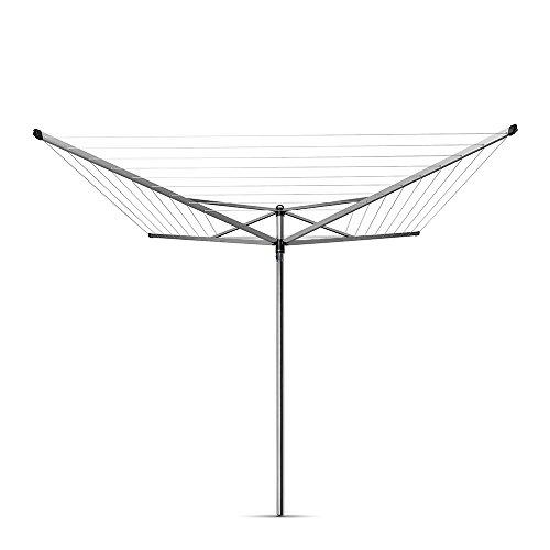 Brabantia Topspinner Tendedero de Jardín con Soporte y Funda, Acero Inoxidable, Gris Metalizado, 50 m