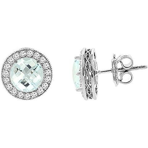 Con acquamarina, oro bianco 14 k Halo Orecchini con diamante Accent, 1/10,16 (4