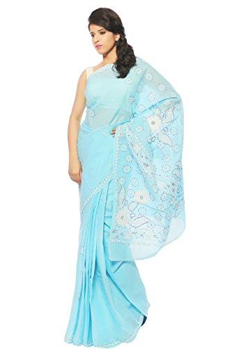 Bds Chikan Cotton Saree (Bds00167_Light Blue)